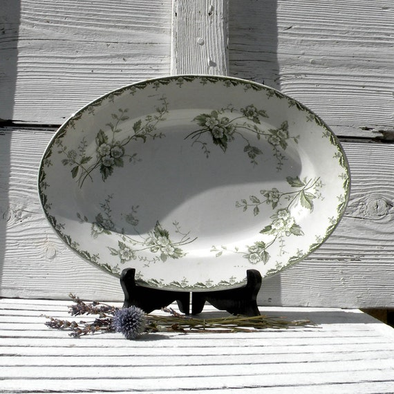 French vintage oval ironstone plate, Saint Amand & Hamage plate, French transferware, French ironstone, country home, cottage decor. Green