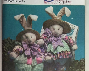 """Simplicity 7020 Bunny and Clothes 32"""" Tall Pattern uncut"""
