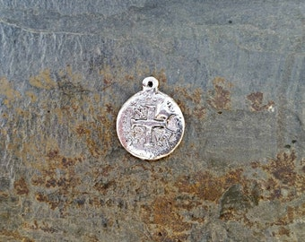 Silver Ancient Cross Coin Pendant Hammered Bohemian Silver Pewter C137,ancient coin charm,coin pendant,silver coin pendant,pieces of eight