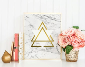TRIANGLES, Marble print, Marble download, Instant Download, 8x10, 11x14, Printable marble, Typography, white marble, marble triangles, gold