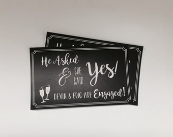 He Asked and She Said YES Champagne bottle label, Engagement Party Gift, Wine Bottle Label, Champagne Sticker Label