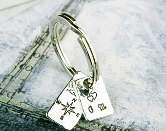 Personalised Your Journey Silver Tags Keyring 25th wedding anniversary gift boxed