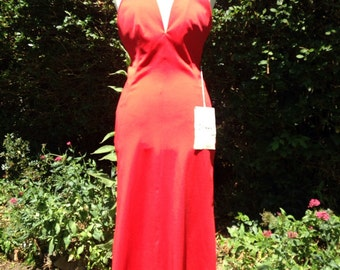 Vintage 1970s Leshgold red disco style dress, with tags.
