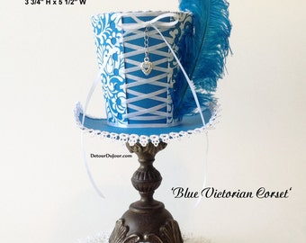 aaartz Blue Mini Top Hat, Alice in Wonderland Party, Tea Party Top Hat, Mini Top Hat DIY