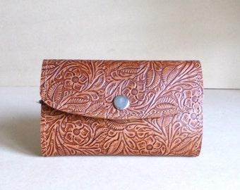 Women's Leather Wallet | Ladies Leather Wallet | Floral Emboss | Brown | Handmade in Australia