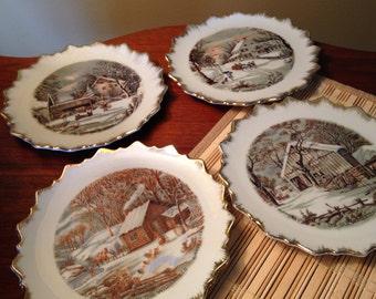Set of four vintage Currier & Ives winter homestead scene plates