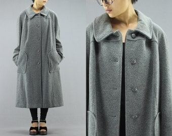 Wool Button Up Oversized Duster Trench Coat By Forecaster Of Boston Size 15/16 Women's 70's Vintage