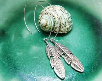 Navajo Silver Tribal Feather Earrings. Native American Indian Feather Large hoop earrings. Unique Boho Chic Warriors by Molax Chopa Tribe