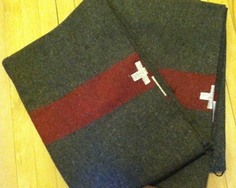 Swiss Army Blanket Wool Blanket Stitch Embroidered Cross Iconic Blanket Camp Blanket Red  Brown Army Blanket Army Surplus