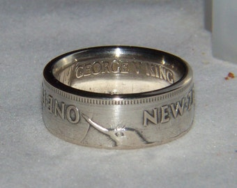 Kiwi silver coin ring