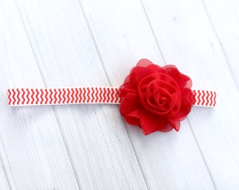 Christmas headband, rose headband, flower headband, holiday headband, red headband, christmas bow