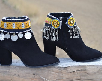 Sale............30% off........ETHNIC black SUEDE BOOTS with heel