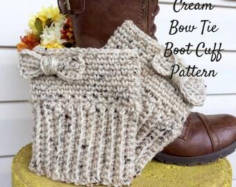 Crochet Pattern Cream Bow Tie Boot Cuff, Easy to Intermediate Boot Cuff Crochet Pattern, Boot Cuff Crochet Pattern and Photo Tutorial