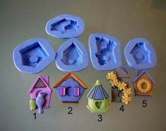 5 silicone molds, theme birdhouse