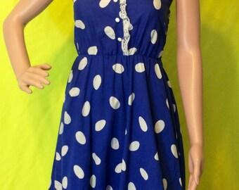 80s-does-50s Blue Dot Dress, XS-M