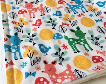 Baby blanket, Minky baby blanket, Animals baby blanket, Woodland baby blanket, Modern baby blanket, Deer baby blanket, Baby shower gift