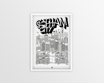 "Gotham City - series ""Movie Scenes"" illustration. Black and white. 32x45cm"