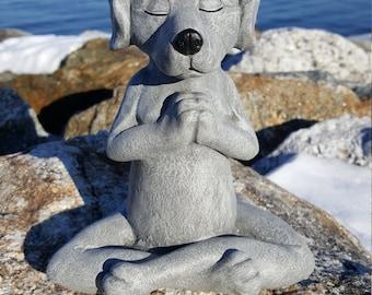 Dog Buddha, Meditating Dog Statue, Yoga Dog Garden Decor, Prayer Pose, Painted Concrete Zen Statue, Cement Yard Art