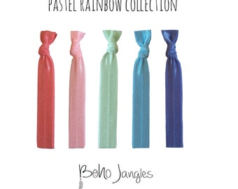 Pastel Rainbow Hair Ties, Spring Colours, Ponytail holders, Knotted Hair Ties, Stretchy Hair Ties, Hair Elastic, 5 Elastic Ties (HR-)