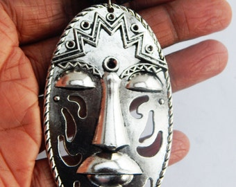 Silver Mask Necklace African Mens Necklace Silver Afrocentric Jewelry Mens Mask Pendant Gift Ideas for Him