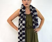Real fur scarf, blue-grey rex rabbit fur scarf, wrap scarf, extra long infinity scarf. Genuine dyed rex rabbit, chess fur scarf, rex scarf.
