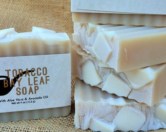 Tobacco Bay Leaf Handmade Soap Aloe Vera and Avocado Oil