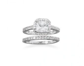 Two CZ Diamond Ring  Wedding Set