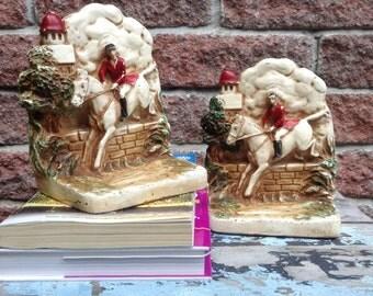 BookEnds,Horse  BookEnds, Horse, Chalkware Bookends, The Hunt,Horse Bookends, Equestrian Decor, Horse Lover, BookEnds, Horse BookEnds,