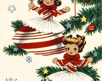 Vintage retro Christmas card peppermint candy cane girls digital download printable instant image