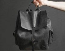 Leather backpack Mens leather backpack Leather rucksack Travel backpack Oversize leather backpack