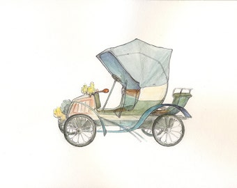 Vintage car Original painting Retro car Watercolor original Fiat car Boy's art Transportation art Baby boy nursery wall art