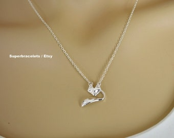 Fox Necklace, animal necklace, fox pendant necklace, silver fox necklace, gold fox necklace, fox necklaces