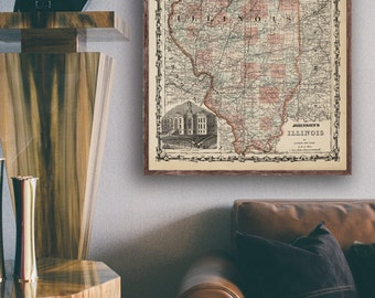 "Map of Illinois 1862, Vintage Illinois map reprint - 4 large/XL sizes up to 48""x36""- in original or blue or black and white"