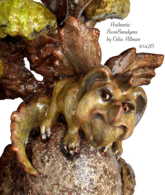 Miniature green dragon original sculpture winged baby dragon fairy tale dragons real egg fantasy fine art original brown green copper gold