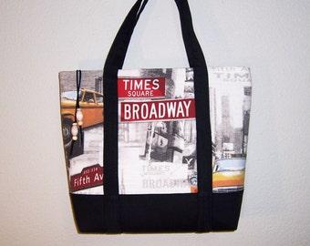New York Motif Tote. Black Print Tote, Zipper Tote, Scenic City Bag