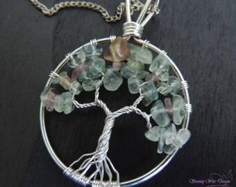 Custom Celestite Sugilite Amethyst Labradorite Moonstone Turquoise Ethiopian Opal Chrome Peridot Quart Tree of Life Pendant Charm Suncatcher