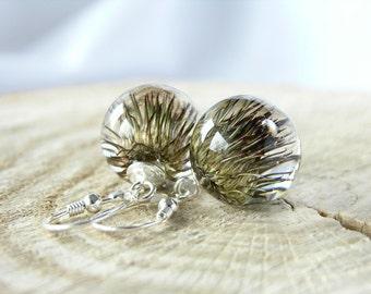 Resin Burdock Earrings, Resin Flower Earrings, Ball Resin Burdock Earrings