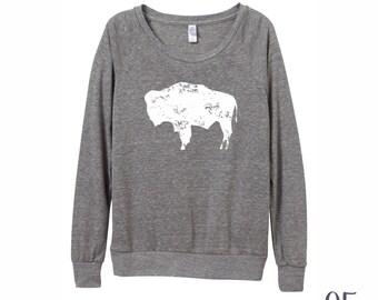 BISON Shirt. Slouchy Pullover. Wyoming Shirt. BISON Sweatshirt. Womens Sweatshirt.