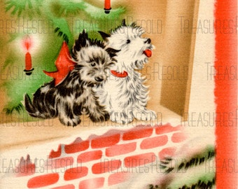 Retro Scottie Terrier Dogs Christmas Card #421 Digital Download