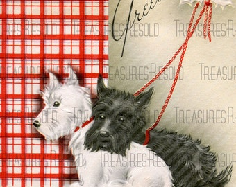 Retro Scottie Dogs Greetings Christmas Card #450 Digital Download