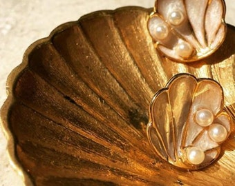 Shell Earrings, Enamel, The Tahitian, Pearl White Vintage Inspired Earrings