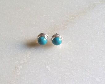 Turquoise Stud Earring Silver Stud Earring Stone Stud Gemstone Stud Minimal Stud Earring Gift