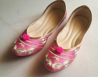 Pink Flats/Gold Flats/US Size 9/Wedding Flats/Women Ballet Flats/Embroidered Bridal shoes/Wedding Shoes