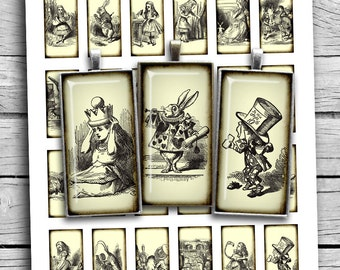 Alice in Wonderland 1x2 inch 0.75x1.5inch Rectangle printable images for Pendants Digital Collage Sheet - Instant Download