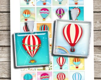 """Cute Hot Air Balloons 1x1"""" 0.75x0.83"""" 1.5x1.5"""" printable images for Jewelry Scrabble tile Printable Digital Collage Sheet Instant Download"""