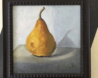 A Pear - 7x7 with frame Original Oil Painting by Renee Brennan Art, fruit art, kitchen art, pear painting, pear art,