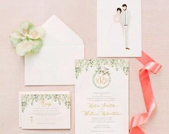 Wedding Invitation Beautiful Romantic Love Birds Monogram Personalized
