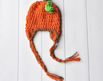 Baby Pumpkin Hat, Crochet Baby Hat, Fall Baby Hat, Crochet Pumpkin, Newborn Photo Prop, Pumpkin Hat Infant, Baby Halloween Hat