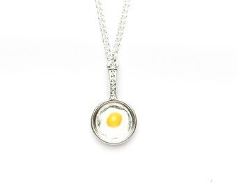 Fried Egg Necklace | Egg Necklace | Egg in Pan Necklace | Food Necklace | Food Jewellery
