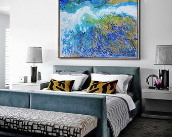 """Abstract Oil Painting On Canvas, Original Art Landscape Painting. IN STOCK, One-of-a-kind. 48""""x48"""", FREE Shipping."""